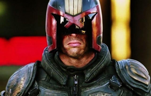 Dredd film still of Karl Urban