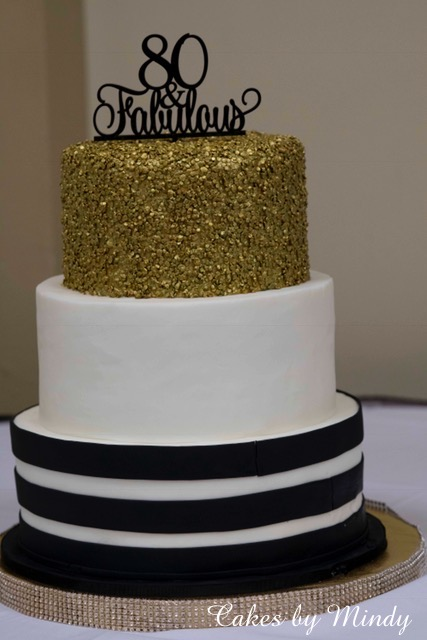 Astounding Cakes By Mindy Black White And Gold 80Th Birthday Cake 8 10 Funny Birthday Cards Online Alyptdamsfinfo