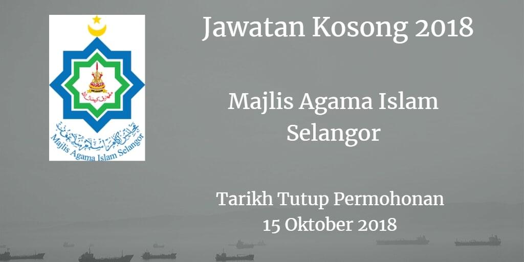 Jawatan Kosong MAIS 15 Oktober 2018