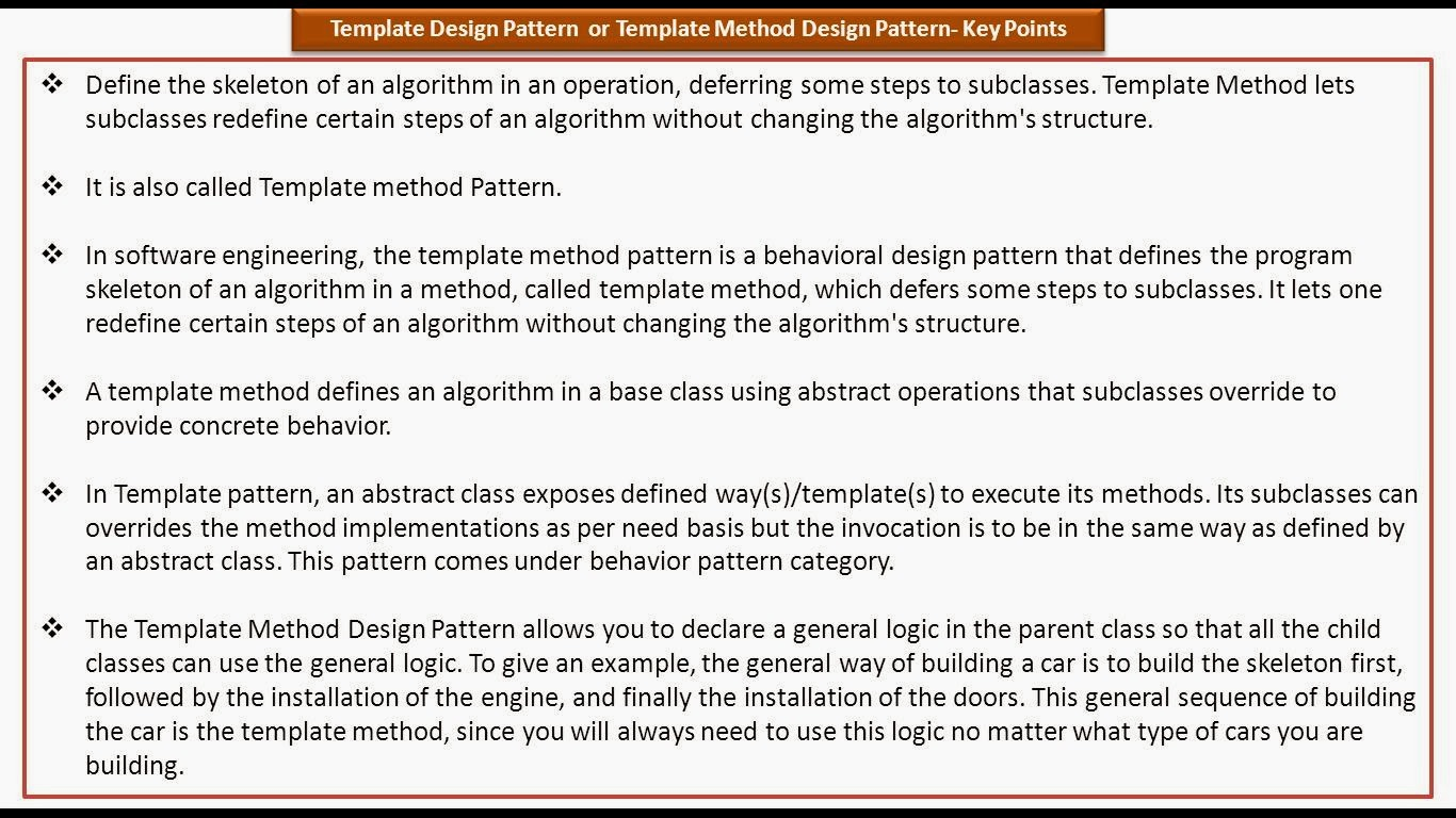 Java ee template design pattern or template method design for Java design document template
