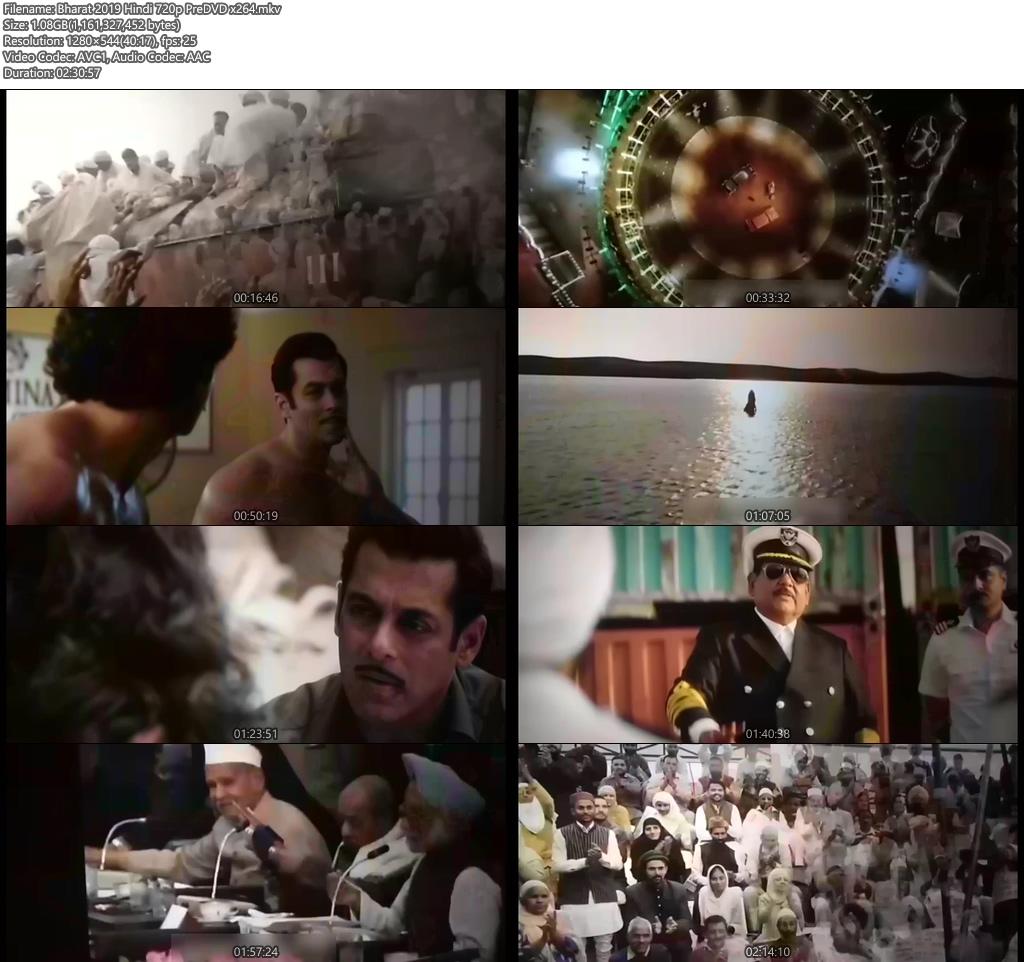 Bharat 2019 Hindi 720p PreDVD x264 | 480p 300MB | 100MB HEVC Screenshot