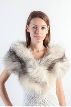 Arctic Platinum Real Fur Stole