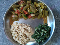 Kodo millet, Ladies finger curry,  Ponnaanganni greens poriyal