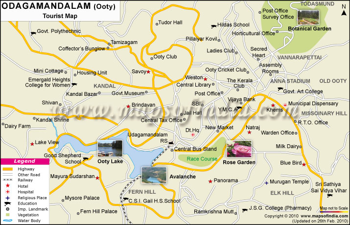 Ooty Tourist Places Route Map