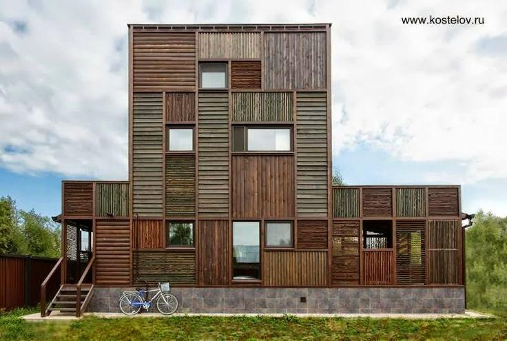 Casa rusa con fachada contemporánea de madera en patrones