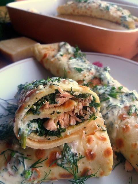 Naleśniki z łososiem i szpinakiem / Salmon and Spinach Crepes