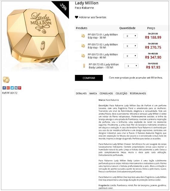 Perfume Lady Million  EDP - 25% de desconto + 5% cupom viagensebeleza