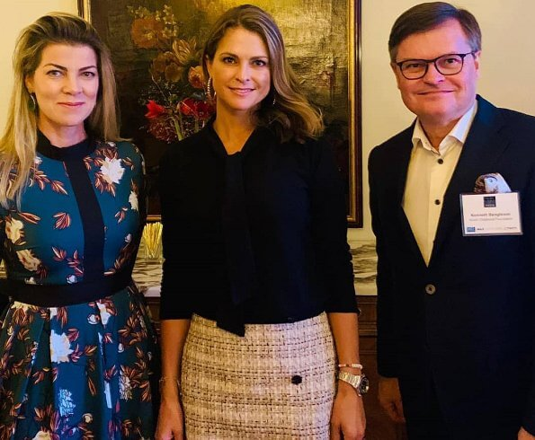 Princess Madeleine wore a new tweed button A-line skirt by Ann Taylor. The World Childhood Foundation
