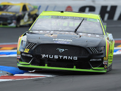 Ryan Blaney was fastest during second practice for the Monster Energy NASCAR Cup Series Bank of America ROVAL 400 at Charlotte Motor Speedway (101.882 mph).