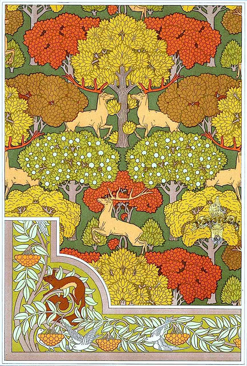MP Verneuil & Eugene Grasset ornamental designs in color, deer in an autumn forest
