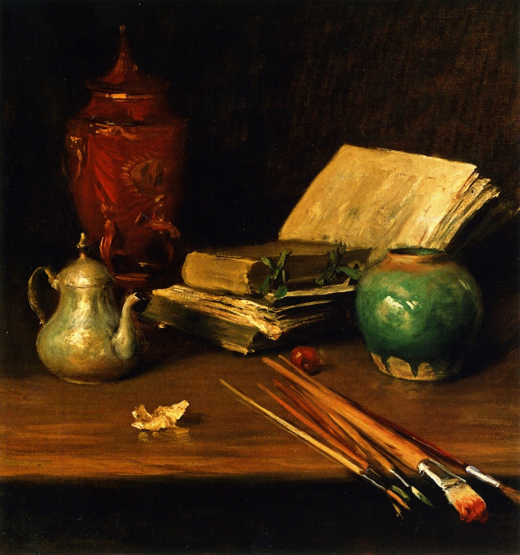 Magnificent still life painting with books and kitchen objects by William Merritt Chase