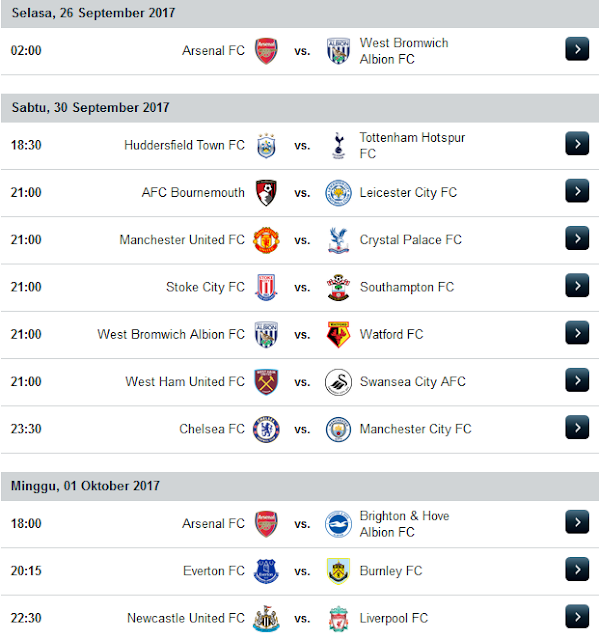 Jadwal Liga Inggris Musim 2017/2018 Terupdate Minggu Ke 7