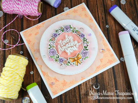 Sweet Pastel Wreath card by Nina-Marie | Happy Little Thoughts Stamp set by Newton's Nook Designs #newtonsnook