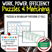 Work, Power, Efficiency, Compounds, Reactions, Physical Science Puzzles, Physical Science Digital Puzzles, Physical Science Google Classroom, Vocabulary, Test Prep, Unit Review