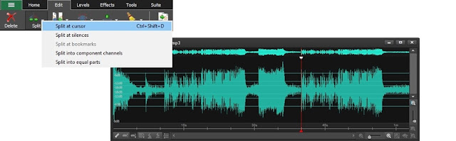 screenshot demonstrating how to split audio tracks in WavePad