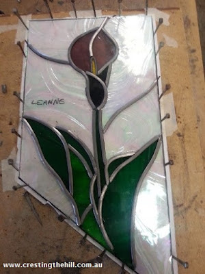 stained glass panel number 1 in process