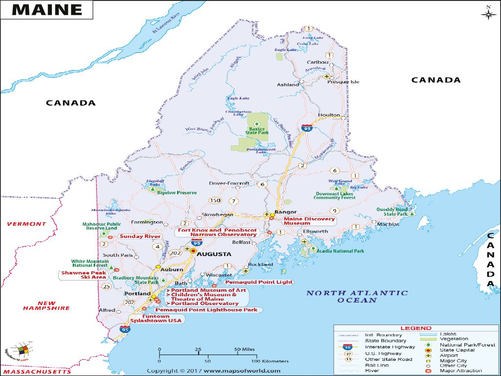 united states map maine