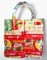 upcycled tote made from plastic food bags