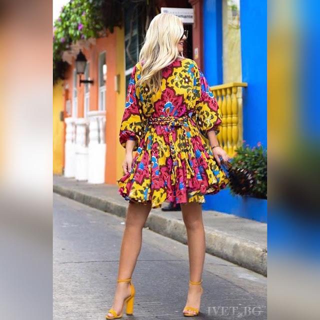 Μοντέρνο κοντό χρωματιστό φόρεμα JASSIE