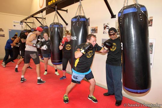 Right: Tony Morrell, Hastings, training under the eye of Merrill Purcell at Flaxmere Boxing Academy, in preparation for a charity boxing event in Wairoa. photograph
