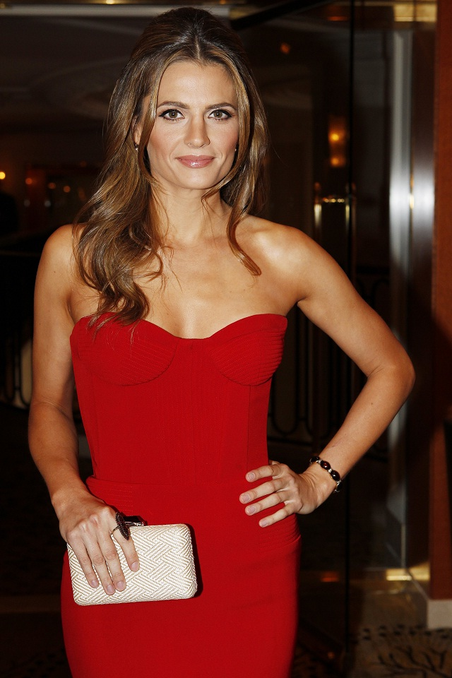 Stana Katic in a strapless red dress at the Consulate of ...
