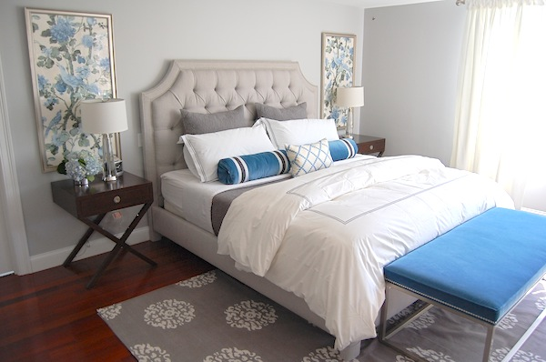 adding blue and green to taupe beige tan bedroom blue velvet bench