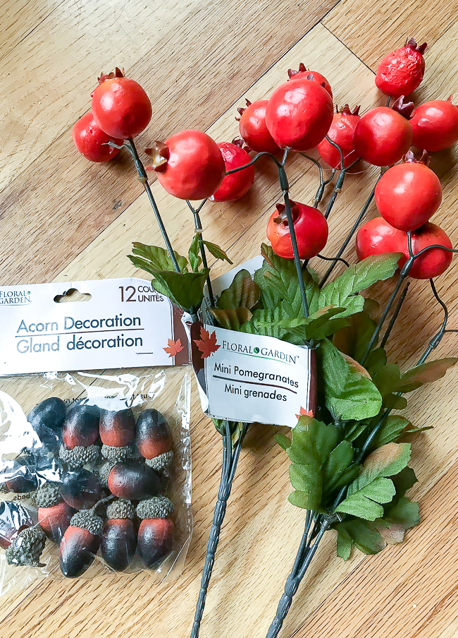 Dollar Tree fall acorns and pomegranate picks