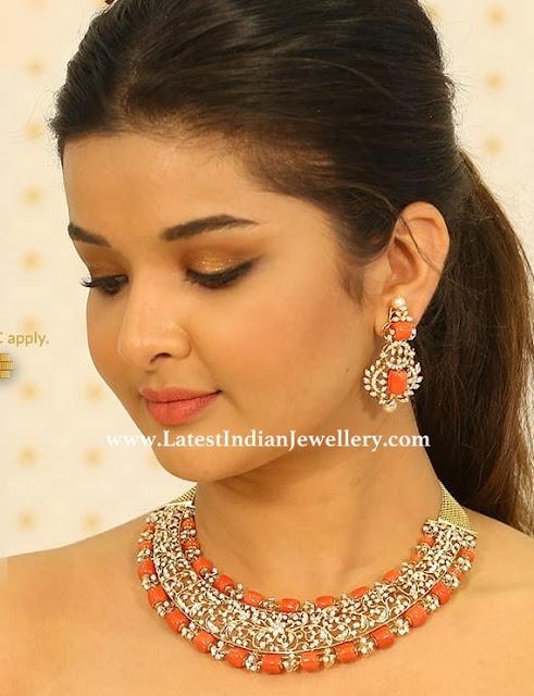 Pretty Diamond Coral Necklace