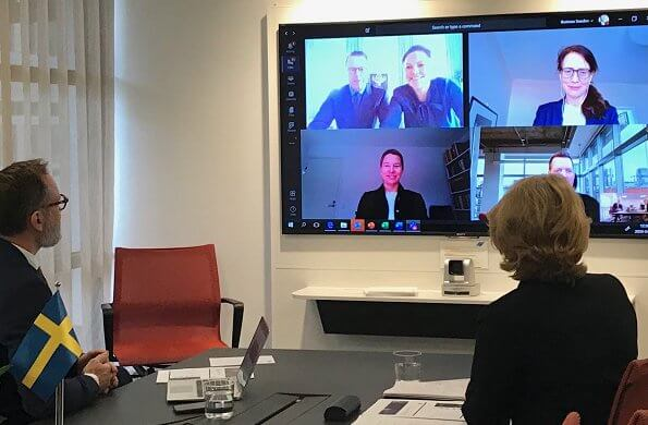 Crown Princess Victoria and Prince Daniel made a video call with the CEO of Business Sweden, Ylva Berg