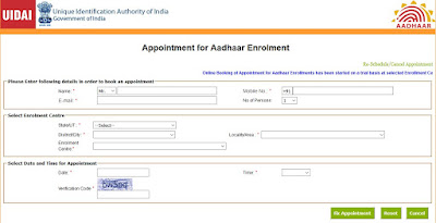 Appointment for Aadhaar Enrolment