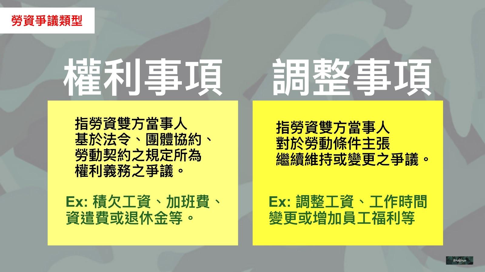 勞資爭議類型:權利事項與調整事項