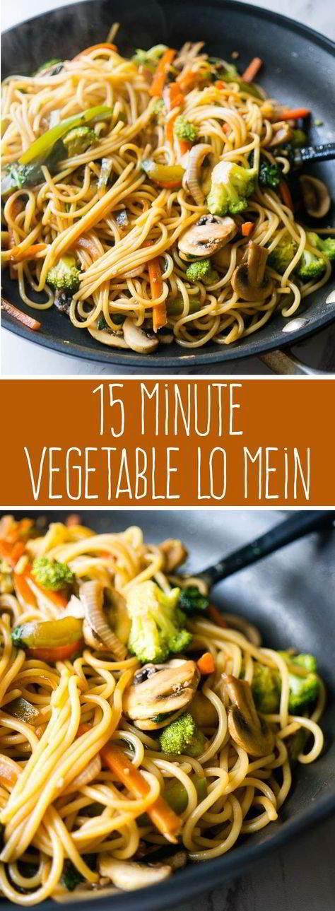 15 Minute Vegetable Lo Mein #vegetable #lomein #dinner #vegan