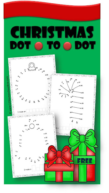 FREE Christmas Dot to Dot Worksheets - these Printables are a fun way for kids from preschool, kindergarten, and first grade to practice counting from 1-50 during December. GREAT way to make math worksheets become a Christmas activities for math centers and extra practice.