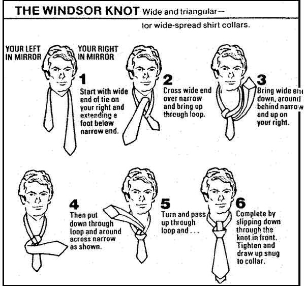 How To Tie A Tie Chart: Windsor Knot