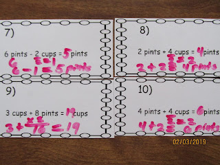 Adding and Subtracting Cups and Pints Task Cards
