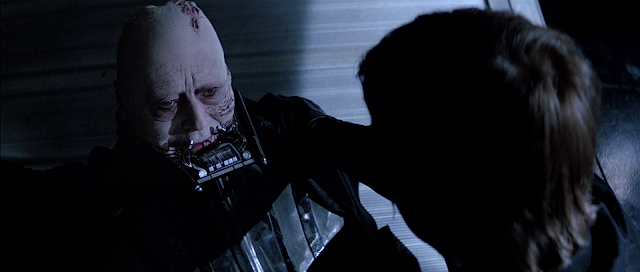 Vader with no eyebrows in Return of the Jedi