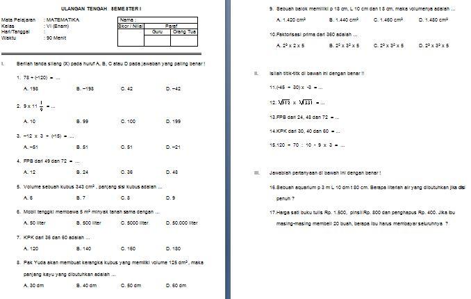 Download Contoh Soal UTS SD/MI Kelas VI Semester 1 Mata Pelajaran Matematika Format Microsoft Word