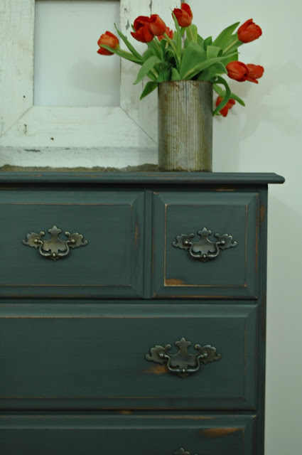 Chalky gray dresser before