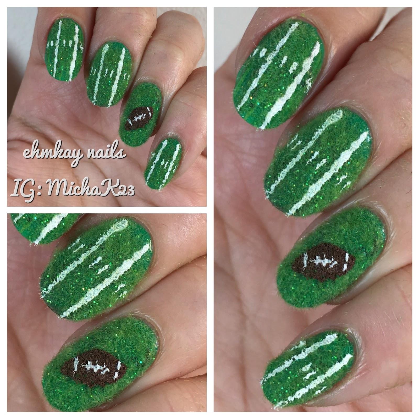 Ehmkay Nails Superbowl Nail Art Astroturf Football Field Art
