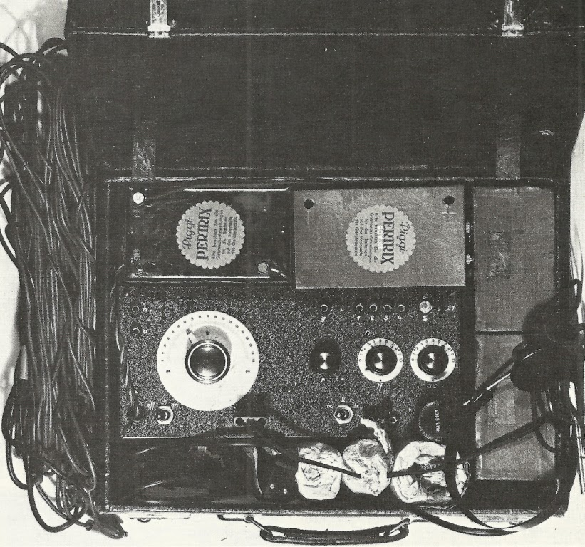 Robert Petter's  (SE 92/3) transmitter  & receiver in a fibre-board suitcase.  (Location unknown)  (Photo from After the Battle, Vol. 11)