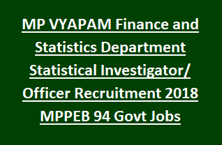 MP VYAPAM Finance and Statistics Department Statistical Investigator Officer Recruitment Notification 2018 MPPEB 94 Govt Jobs