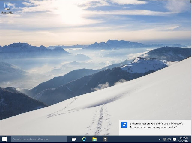 Tampilan desktop windows 10