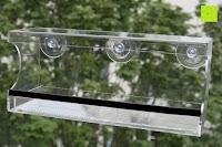 anhängen: PEDY Großer Fenster Vogelfutterspender, Transparenter Saugfuß Durchsichtiger Vogelhaus Fenster Vogelfutterspender Großer Acryl Vogelfutterspender Vogelfutterstation