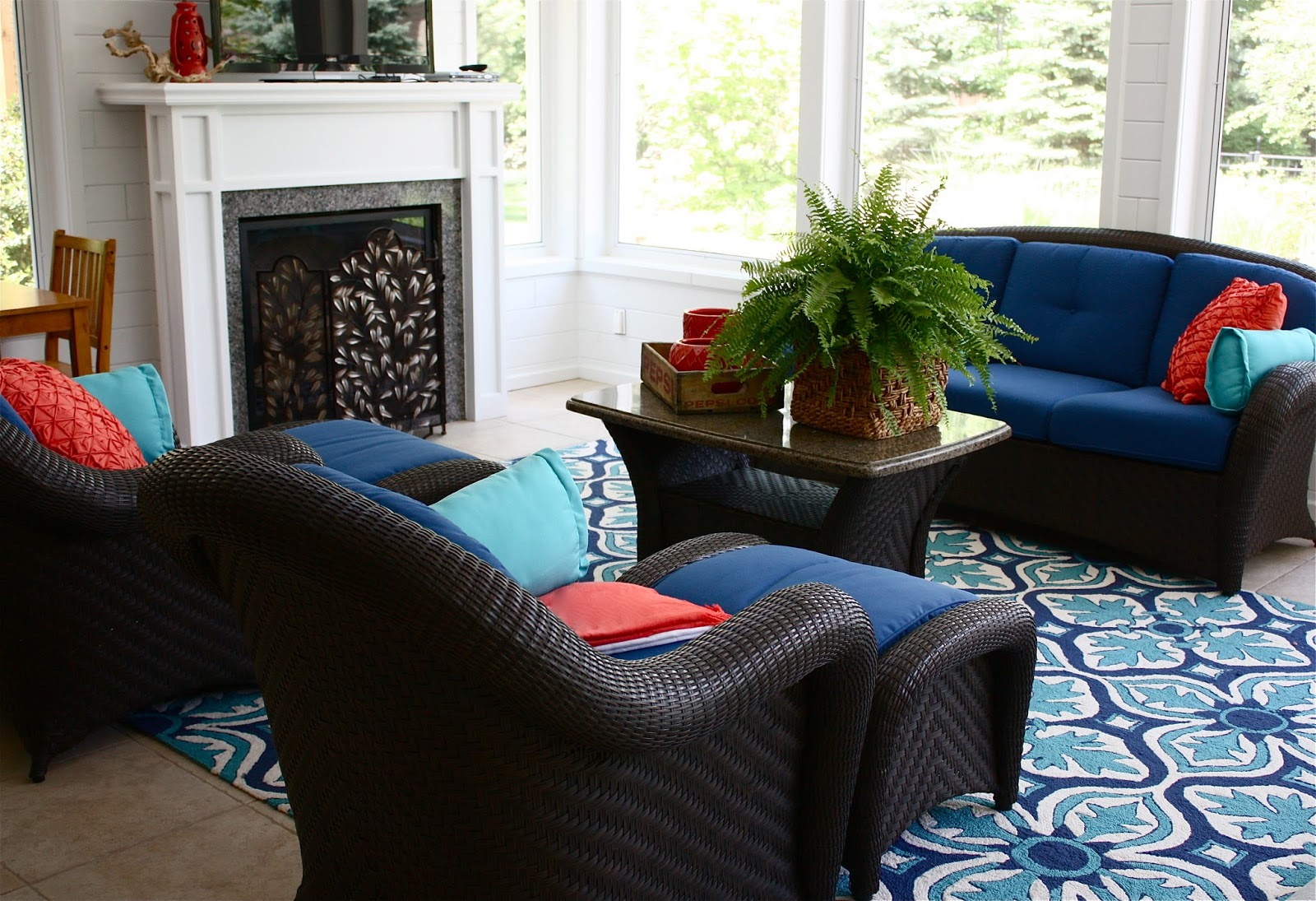 breathtaking indoor outdoor carpet living room | The Yellow Cape Cod: Pool House Styling Project