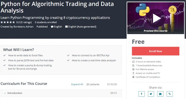 [100% Free] Python for Algorithmic Trading and Data Analysis