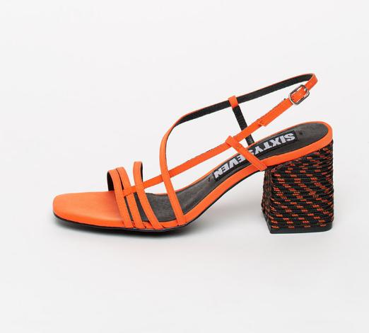 sixtyseven Sandale casual moderne portocalii de panza cu toc masiv
