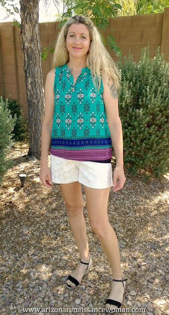 Alice Blue Earlson Split Neck Blouse and Eden Society Chelsie Crochet Short - Stitch Fix (2)