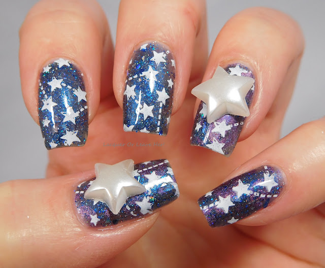 Charlie's Nail Art star charms over Sassy Pants Polish To All A Good Night + Born Pretty Store BP-L056