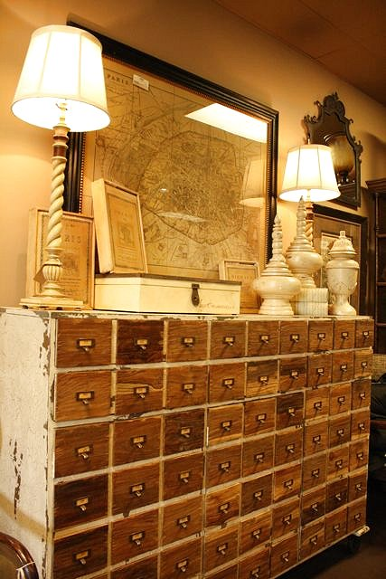 I love this color green. Dishfunctional Designs  Vintage Library Card Catalogs Transformed